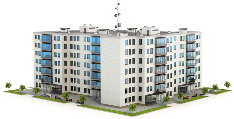 illustration of a large condo building